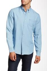 Slate & Stone Men's Charter Cotton Linen Shirt - Light Indigo - Size: M
