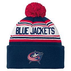 NHL Columbus Blue Jackets Youth 8-20 Cuffed Knit Pom Hat, One Size, Navy
