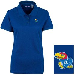 NCAA Kansas Jayhawks Women's Solid Polo Shirt - Size: XL - Ultramarine