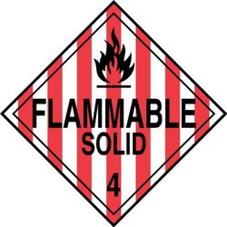 "Accuform Signs MPL401CT100 PF-Cardstock Hazard Class 4 DOT Placard, Legend ""FLAMMABLE SOLID 4"" with Graphic, 10-3/4"" Width x 10-3/4"" Length, Black on Red/White Stripe (Pack of 100)"