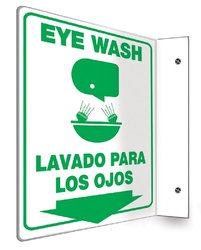 "Accuform Signs SBPSP751 Spanish Bilingual Projection Sign 90D, Legend ""EYE WASH/LAVADO PARA LOS OJOS (ARROW)"" with Graphic, 12"" x 9"" Panel, 0.10"" Thick High-Impact Plastic, Pre-Drilled Mounting Holes, Green on White"