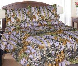 Regal Comfort Woodland Camo 1 Piece Comforter Spread - Lilac - Size: Q/F