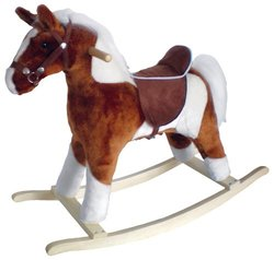 Charm Company Pinto Horse Rocker, Brown Saddle Brown Saddle