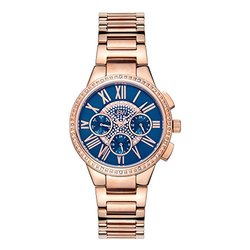 Jbw Women's Rose Gold Tone And Blue Dial Diamond Accent Bracelet Watch