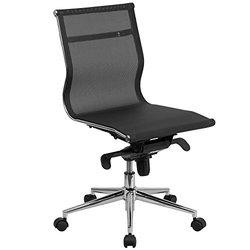 Mid-Back Armless Black Mesh Executive Swivel Office Chair with Synchro-Tilt Mechanism