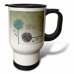 3dRose Inspired Teal Make a Wish Dandelion Flowers Travel Mug, 14-Ounce