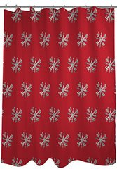 "Bentin Home Decor Starry Eyed Snowflakes Shower Curtain by Timree Gold, Standard 71""x 77"", Red/Gray"