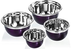 Imperial Home 4 Pcs Stainless Steel Mixing Bowls Set - Set of 4 (Purple)