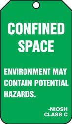 "Accuform Signs TSS824PTP Confined Space Status Tag, Legend ""CONFINED SPACE - ENVIRONMENT MAY CONTAIN POTENTIAL HAZARDS -NIOSH CLASS C"", 5.75"" Length x 3.25"" Width x 0.015"" Thickness, RP-Plastic, White on Green (Pack of 25)"