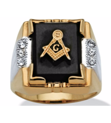 PalmBeach Men's 14k Gold-Plated Onyx & Crystal Masonic Ring - Size: 8