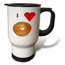 3dRose tm_60655_1 Love Bagels Travel Mug, 14-Ounce, Stainless Steel