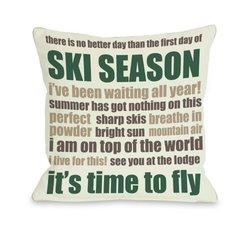 "Bentin Home Decor Ski Season Words Throw Pillow by OBC, 18""x 18"", Ivory/Emerald/Brown"