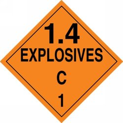 "Accuform Signs MPL128CT100 PF-Cardstock Hazard Class 1/Division 4C DOT Placard, Legend ""1.4 EXPLOSIVES C 1"", 10-3/4"" Width x 10-3/4"" Length, Black on Orange (Pack of 100)"
