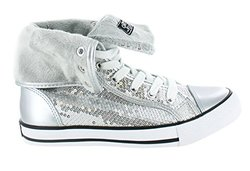 Gotta Flurt Destiny High Top Sneaker, Silver, Size 8