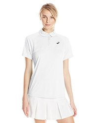 ASICS Women's Club Short Sleeve Polo, Real White, Small