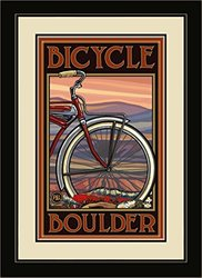 Northwest Art Mall PAL-1308 FGDM OHB Boulder Colorado Old Half Bike Framed Wall Art by Artist Paul A. Lanquist, 16 by 22-Inch