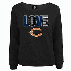 NFL Chicago Bears Girls Youth Love Fleece Shirt - Black Heather - Size: XL