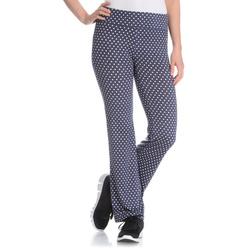 Vogo Performance Women's Polka Dot Active Flare Pant - Blue - Size: Medium