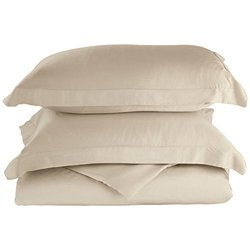 Impressions 100% Rayon from Bamboo Duvet Cover Set -Ivory - Size:Cal. King