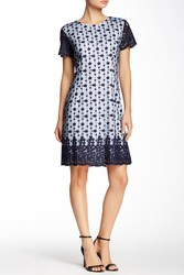 Sharagano Women's Embroidered Lace Dress - Midnight Navy - Size: 4