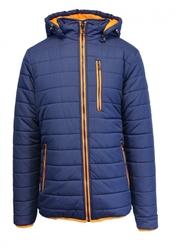 Mens Puffer Jacket with Detachable Hood  - Navy/Orange - Size: Large