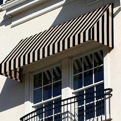"""Awntech 5-Feet New Yorker Window/Entry Awning 44""""x48"""" Diameter - Black/Tan"""