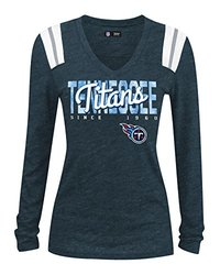 NFL Tennessee Titans Women's Long Sleeve V-Neck Tee - Navy - Size: Large