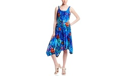 Spense Sleeveless Dress with Braided Neckline Abstract - Hibiscus - Large