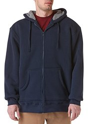 Teflon Men's Pebble Weave Zip Front Hoodie with Sherpa Lining Jacket, X-Large, Navy