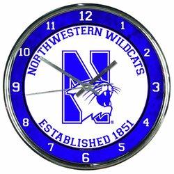 NCAA Northwestern Wildcats Chrome Clock