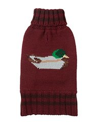 "Fab Dog Knit Turtleneck Dog Sweater Mallard, Burgundy, 16"" Length"