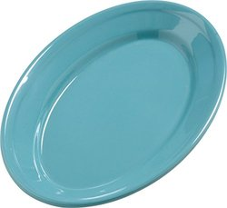 "Carlisle 4387263 Dayton Melamine Serving Platter, 9"" x 6"", Turquoise (Set of 24)"