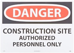 "NMC D247RD OSHA Sign, Legend ""DANGER - CONSTRUCTION SITE AUTHORIZED PERSONNEL ONLY"", 28"" Length x 20"" Height, Rigid Plastic, Red/Black on White"