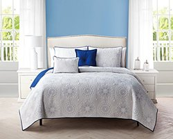 Embroidered Reversible 5-Piece Quilt Set - White/Blue - Size: King