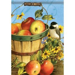 Carson Lg Flag-Chickadees & Apples - 28x40