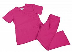 Natural Uniforms Women's Mock Wrap Scrub Set Small Hot Pink