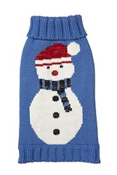 Fab Dog Holiday Snowman Knit Dog Sweaters, Blue, 12""