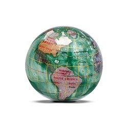 "Gemstone Globe Paperweight with Opalite Ocean - Peridot Green - 3"""