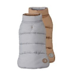 "Fab Dog Reversible Puffer Vest Dog Jacket - Camel/Gray - Size: 10"" Length"