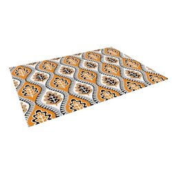 "Kess InHouse Jacqueline Milton ""Oak Leaf-Orange"" Floral Orange Outdoor Floor Mat/Rug, 4 by 5-Feet"