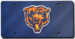 Chicago Bears Deluxe Navy Mirrored Laser Cut License Plate