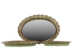 Pierced Electroplated Metal Tray with Mirror Surface - Gold - Set of 3