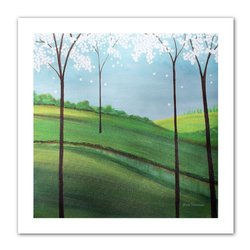 Art Wall Whimsy Spring by Herb Dickinson Unwrapped Canvas Artwork, 40 by 40-Inch