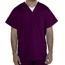 Unisex 3 Pocket Scrub Top with Vestex Protection - Wine - Size: 3XL