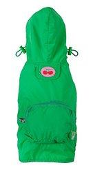 Fab Dog Cherry Pocket Travel Dog Raincoat - Rain Jacket for Dogs, Green, Large