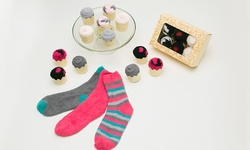 Passione Women's Socks in a Cupcake Gift Box Pack of 3 - Multi - Size: One