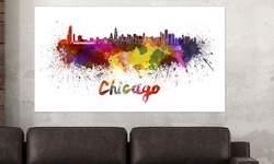 Artsy Canvas Vibrant Watercolor Skylines Poster - Cleveland - Size: 24x13