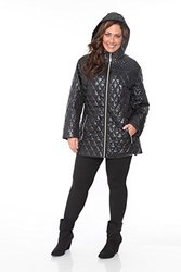White Mark Women's Plus Size Puffer Coat - Black - Size: 3X