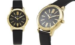 Jeanneret Women's Watch - Black Band/Black Dial Gold