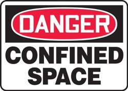"""Accuform Signs MCSP002VA Aluminum Safety Sign, Legend """"DANGER CONFINED SPACE"""", 10"""" Length x 14"""" Width x 0.040"""" Thickness, Red/Black on White"""
